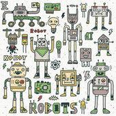 Robotar, elektriska kretsar, Microschemes. — Stockvektor