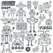 Robots,Electrical, Circuits, Microschemes. — Stock Vector