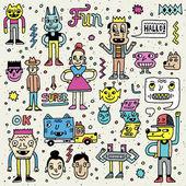 Cartoon funny wacky colorful  set — Stock Vector