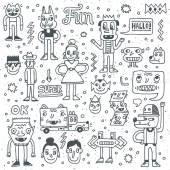 Cartoon funny wacky doodle set — Stock Vector