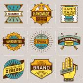 Assorted retro design color insignias — Stock Vector