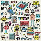Müzik elektronik Style komik tuhaf — Stok Vektör