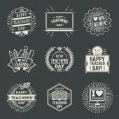 Happy Teachers Day assorted  insignias — Stock Vector