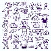 Wacky crazy doodles set — Stock Vector