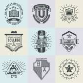 High education logotypes set — Stock Vector