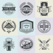 Art logotypes home brewery set — Stock Vector