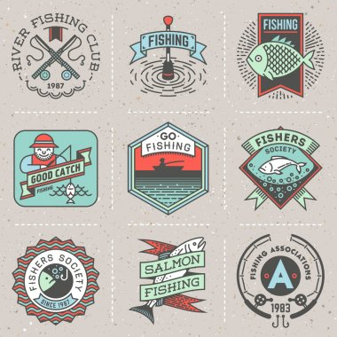 Fishing assorted color logos set