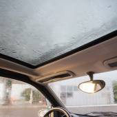 Rain droplets on car windshield — Stock Photo