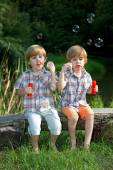Little Twin Brothers Sitting on Wooden Bench and Blowing Soap Bubbles in Summer Park — Stock Photo