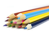 Macro Shot of Sharpened Colorful  Pencils Coming from Corner Isolated on White — Stock Photo