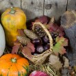 Still Life with Various Pumpkins, Wicker Basket Filled with Pinecones, Acorns, Chestnuts and Autumn Leaves on a Hay, Wooden Planks Background — Stock Photo #56788401