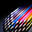 Macro Shot of Sharpened Colorful Pencils Against Black Background — Stock Photo #60611421