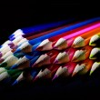 Macro Shot of Sharpened Colorful Pencils Against Black Background — Stock Photo #60611653