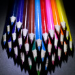 Macro Shot of Sharpened Colorful Pencils Against Black Background — Stock Photo #60611675