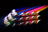 Macro Shot of Sharpened Colorful Pencils Against Black Background — Stock Photo