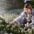 Young Girl Making a Wish on Dandelion Field While Sun Rays Falling on Her — Stock Photo #73261829