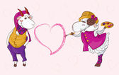 Goat sheep valentine — Stock Vector