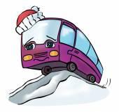 Cheerful multicolored bus — Stock Vector