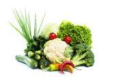 Decorative pattern of fresh vegetables on white background — Stock Photo