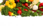 Fresh vegetables with leaves isolated on white background — Stock Photo