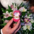 Wedding ceremony, the bride and groom exchange rings. — Stock Photo #58506283