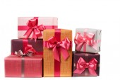 Boxes with gifts isolated on white background — Stock Photo