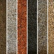 A collage of peppercorn varieties and spices on white — Stock Photo #63857163