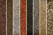 Un collage de variedades de granos de pimienta y especias en blanco — Foto de Stock