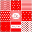 Set of simple retro Christmas patterns - hearts, stars, bows, stripes, hearts, dots, zigzag. — Vector de stock  #52805285