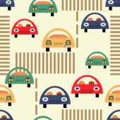 Seamless pattern with cars in retro colors. vector illustration. — Stock Vector