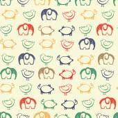 Seamless patterns with cute funny animals. — Stock Vector