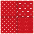 Set of four retro seamless backgrounds with stars, bows, hearts and dots. — Stock Vector #62373373
