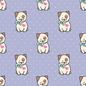 Seamless pattern with Kitty for Happy Valentine's Day. — ストックベクタ