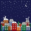 Vector illustration poster with cats, houses, stars, moon. — Stock Vector #62904605