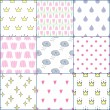Vector seamless patterns set: crowns, drops, hearts, flowers, clouds, tulips, stars — Stock Vector #66416351