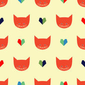 Seamless pattern with cats and hearts — Stock Vector