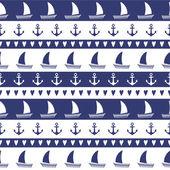 Navy vector seamless pattern: anchor, sailboat, heart — Stock Vector