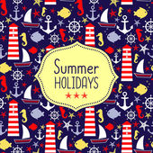 Cute vector card for summer holidays. Navy vector seamless sea pattern — Stock Vector