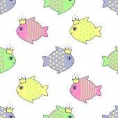 Seamless pattern with smiling fish for kids holidays — Stock Vector