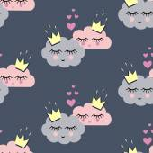Seamless pattern with smiling sleeping clouds in love for holidays — Stock Vector