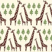 长颈鹿家庭无缝模式。野生动物园动物背景. — 图库矢量图片
