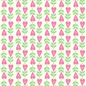 Seamless floral pattern with heart shape flowers — Stock Vector