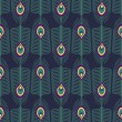 Seamless abstract pattern with peacock feather and bird fluff on dark blue background. — Stock Vector #76409615