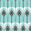 Seamless abstract pattern with peacock feather on white background. Close-up decorative texture with peacock feathers. — Stock Vector #76409723