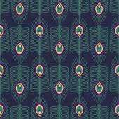 Seamless abstract pattern with peacock feather and bird fluff on dark blue background. — Vector de stock