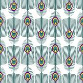 Seamless abstract pattern with peacock feather on white background — Stock Vector