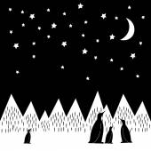 Arctic night vector illustration with penguins family, geometric snowy mountains, moon and stars. Black and white nature print. — Stock Vector