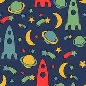 Seamless space pattern. Cosmic background with stars, planet, spaceship, rocket, moon — Stok Vektör