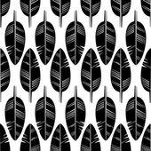 Padrão sem emenda de penas pretas sobre fundo branco. Textura do estilo Boho. — Vetor de Stock