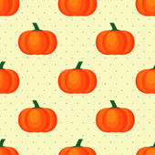 Seamless vector pattern with fresh ripe pumpkins on polka dots background. — Stock Vector
